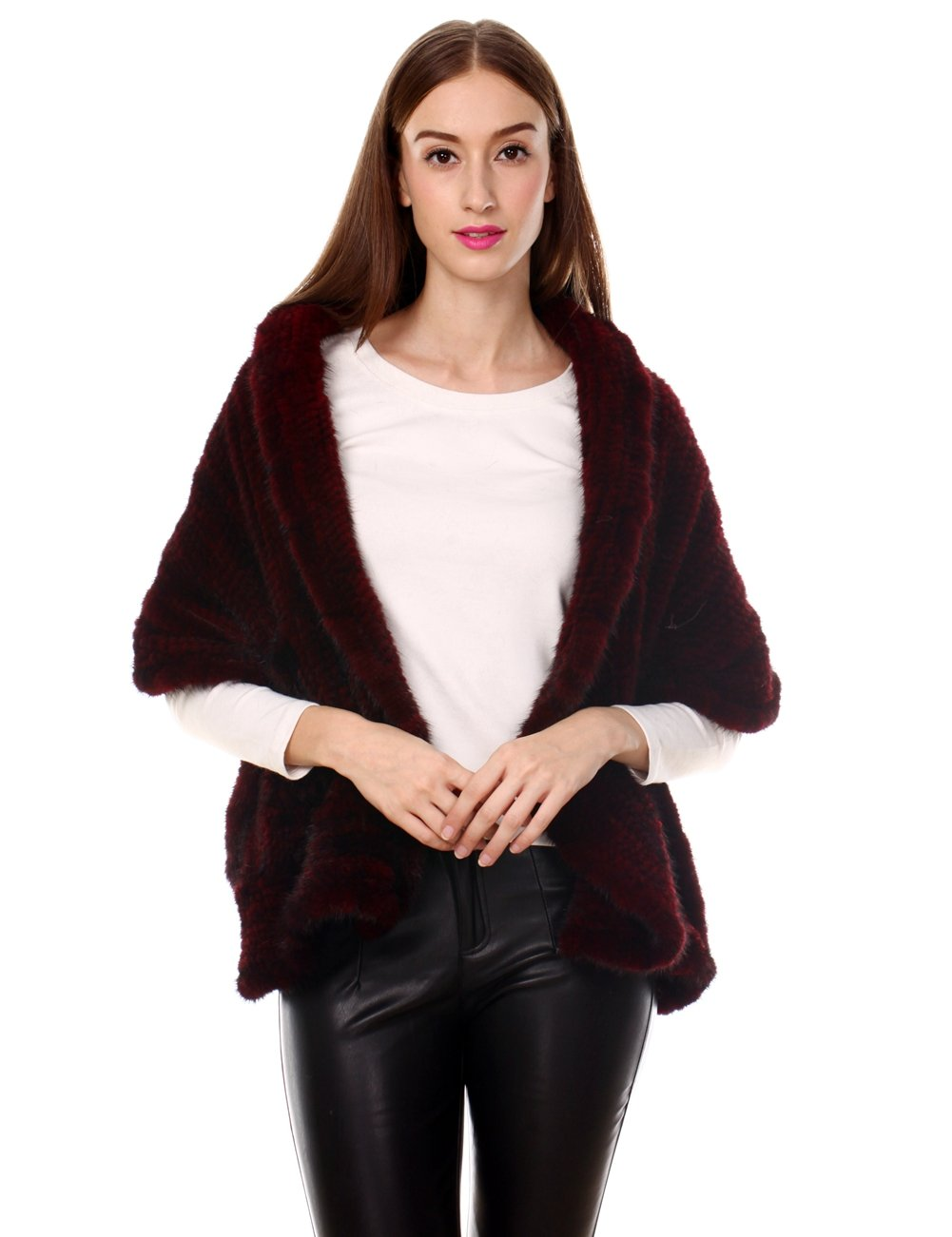Ferand Knitted Real Mink Fur Ruffled Shawl Stole with 2 Pockets for Women, Burgundy
