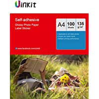 A4 Self Adhesive Photo Paper Sticky High Glossy Inkjet Paper - 100sheets Self-Adhesive White Photographic Paper Inkjet Printing Only Uinkit