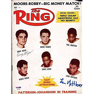 54cd96d67 Lenny Matthews and Denny Moyer Signed Magazine Cover - PSA DNA  Authentication - Boxing Memorabilia