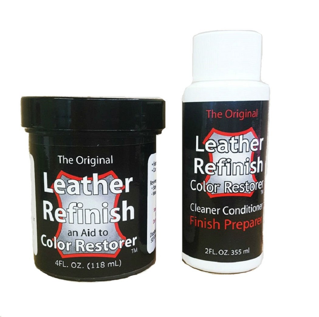 Leather Refinish Color Restorer Dye & Cleaner/Preparer Combo Kit, Cognac by Leather Refinish