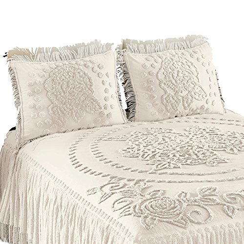 Rose Garden Medallion Chenille Pillow Sham, Ivory, Sham