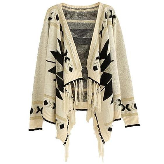 Losorn Women\'s Aztec Tribal Geometric Patterns Tassels Cardigan Knit ...
