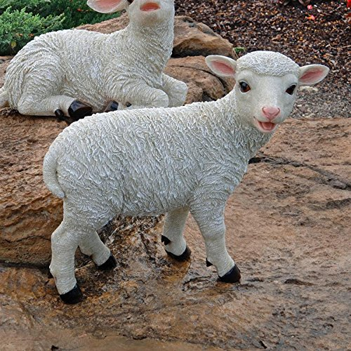 Design Toscano Standing Yorkshire Lamb Garden Farm Animal Statue, 15 Inch, Polyresin, Full Color -