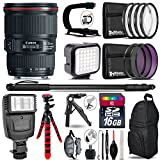 Canon EF 16-35mm f/4L IS USM Lens 9518B002 + Flash + LED Kit + Stabilizing Handle + UV-CPL-FLD Filters + Macro Filter Kit + 72'' Monopod + Table-Top Tripod + 16GB Class 10 - International Version