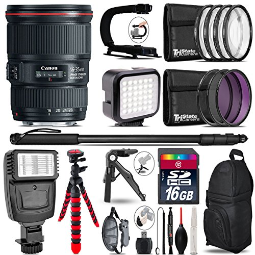 Canon EF 16-35mm f/4L IS USM Lens 9518B002 + Flash + LED Kit + Stabilizing Handle + UV-CPL-FLD Filters + Macro Filter Kit + 72'' Monopod + Table-Top Tripod + 16GB Class 10 - International Version by TriStateCamera