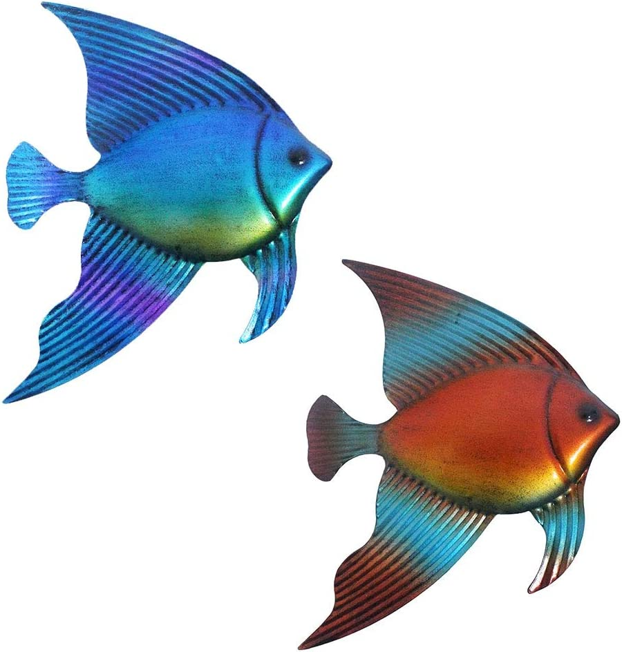 Lathamsea Ocean Sea Metal Fish Wall Decor,Hanging Bathroom Wall Art Sculpture Set Of 2,For Indoor Outdoor Home Garden Or Pool Beach theme Wall Decorations Use
