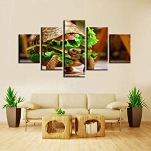 MONDFH 5 Canvas Paintings 5 Pieces Factory Fun Food Poster Print Art Wall Poster Canvas Painting Home Decoration Modern HD Fashion Art Deco