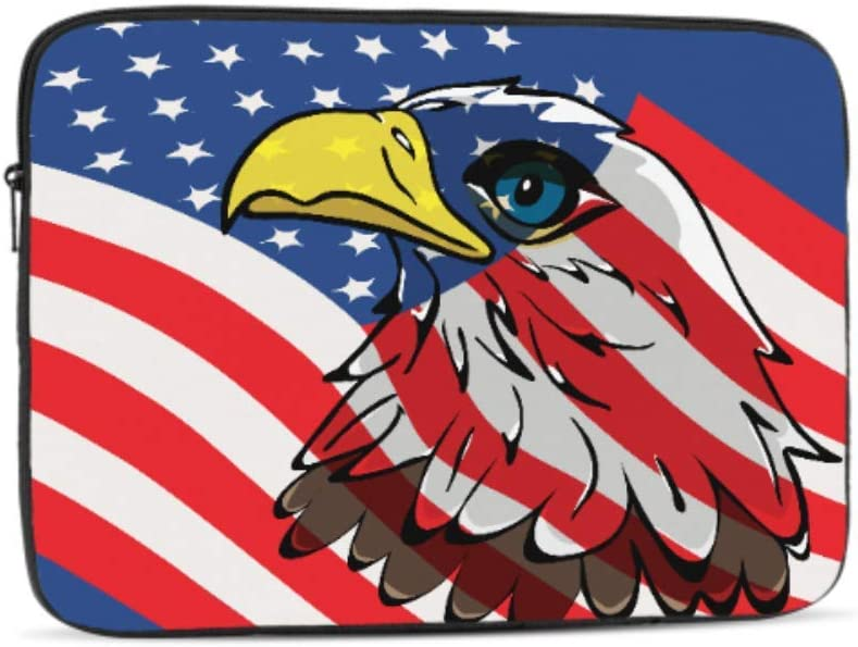 Eagle Over United States Flag Vector Pattern 17 Laptop Sleeve Bag 17.3 17.4 Inch Notebook Computer Pc Neoprene Protection Zipper Case Cover