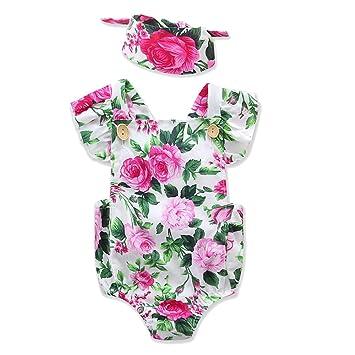 Bebé recién nacido de una sola pieza Jumpsuit Rompers Jumpsuit Outfits ropa sin mangas Backless con patrones de flores impresas con Linda diadema: ...