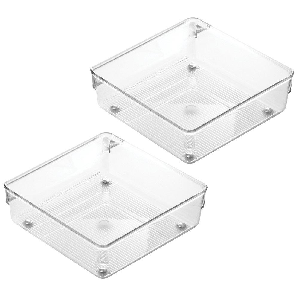 InterDesign Linus Kitchen Drawer Organizer for Silverware, Spatulas, Gadgets - Set of 2, 6'' x 6'' x 2'', Clear