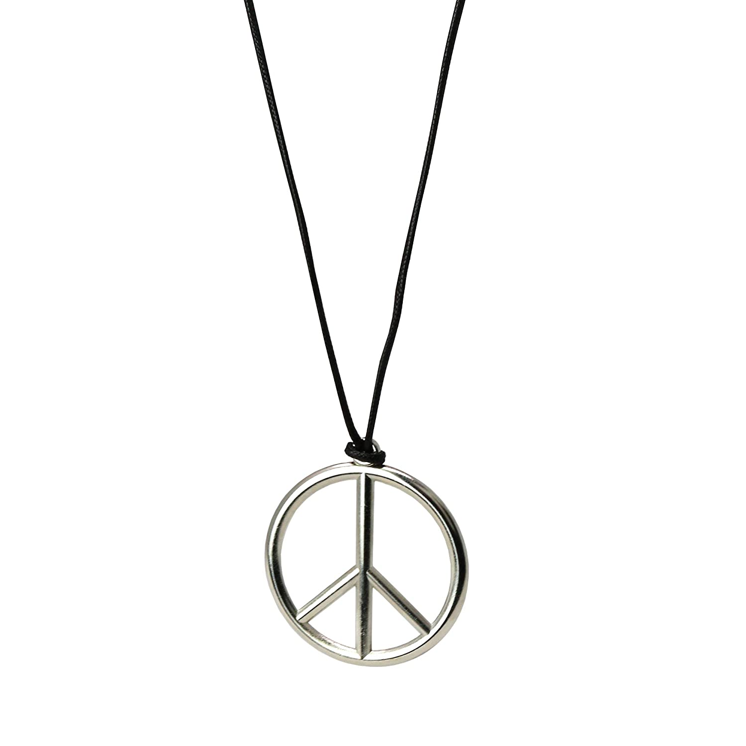 1960s 1970s Hippie Party Accessories Necklace Skeleteen Silver Peace Sign Pendant 1 Piece