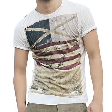 Naturazy La Blusa Superior Delgada De Manga Corta Camiseta Los Hombres Personalidad Moda Ocasionales Camisetas Hombre Casual Slim Camisa con Bandera ...
