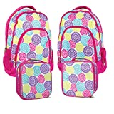 Reinforced Water Resistant School Backpack and Insulated Lunch Bag 2 Pack - Flower Petal Burst