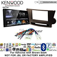 Volunteer Audio Kenwood DMX7704S Double Din Radio Install Kit with Apple CarPlay Android Auto Bluetooth Fits 2008-2013 Non Amplified Toyota Highlander (Brown)
