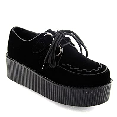 b06087d9d2e ESSEX GLAM NEW WOMENS PLATFORM LACE UP DOUBLE CREEPERS GOTH PUNK ...