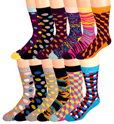 Men's Cotton Blend Socks, Fun and Funky Patterns and Colors -12 Pack- by Zeke Fun Times Shoe size 6-12