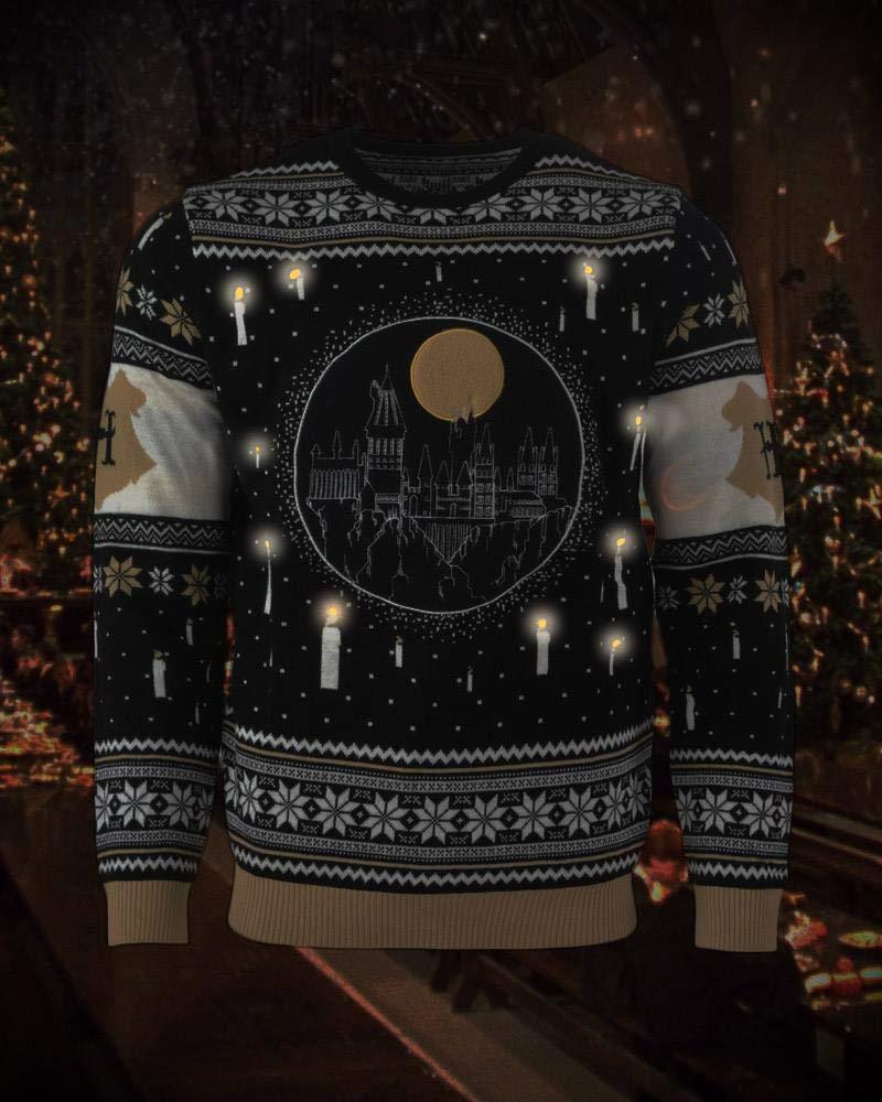 Harry Potter Christmas Jumper Ugly Sweater Hogwarts Castle Candles ...