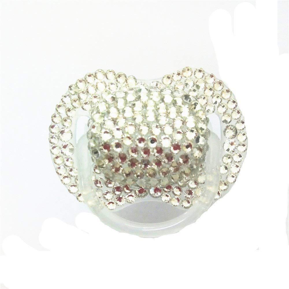 Dollbling Custom Unique Sparkle Silver Rhinestones Crystals Baby Pacifier, 1PC