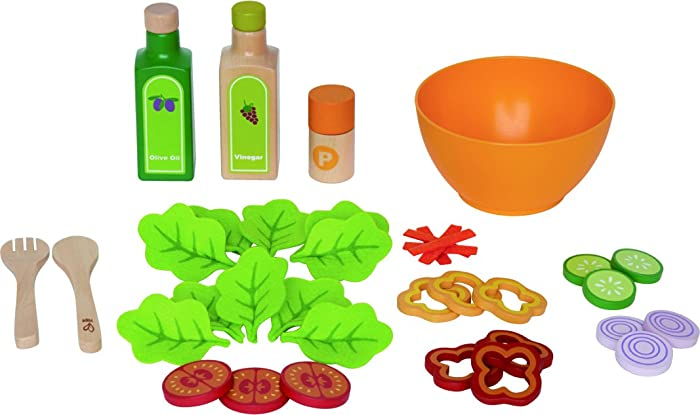 Award Winning HapeGarden Salad Wood Play Kitchen Play Set
