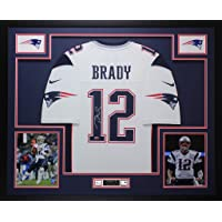 $1995 » Tom Brady Autographed White New England Patriots Nike Jersey - Beautifully Matted and Framed - Hand Signed By Tom Brady and…