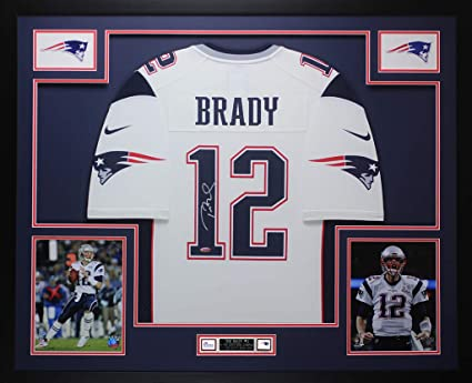 Tom Brady Autographed White New England Patriots Nike Jersey - Beautifully  Matted and Framed - Hand 48d31f2c9