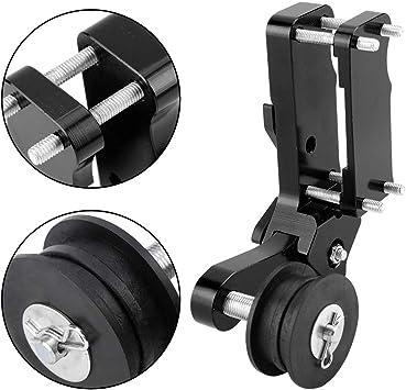 Qiilu Moto Ingranaggi catene nero Rullo tendicatena per regolazione moto Strumento universale in lega di alluminio CNC