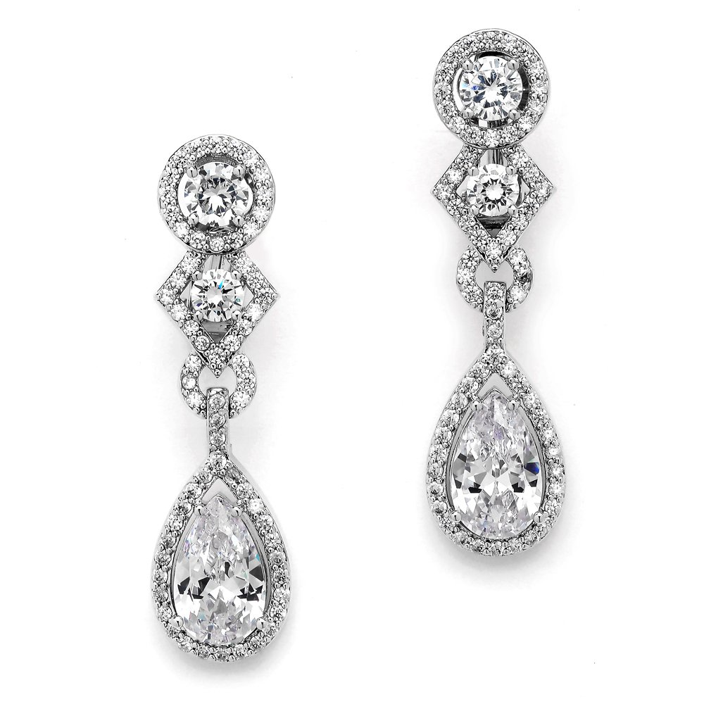 Mariell CZ Clip-On Earrings with Pear Dangles. Drop Style Silver Bridal Clip Earrings for Weddings!