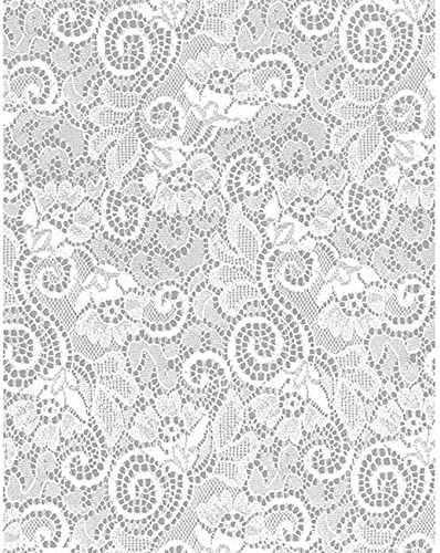 1 Roll 100 Feet Long Hampshire Paper 24-Inch-Wide Krystalphane Decorated Cellophane White Victorian Lace Design
