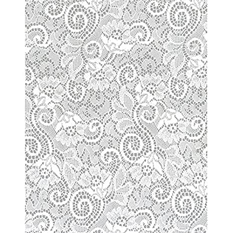 Hampshire Paper 30-Inch-Wide Krystalphane Decorated Cellophane 1 Roll 100 Feet Long White Crystal Snowflakes Design