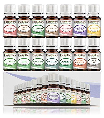 Essential Oil Set 14-5 ml Therapeutic Grade 100% Pure Frankincense, Lavender, Peppermint, Rosemary, Orange, Tea Tree, Eucalyptus, Grapefruit, Lemon, Lime, Clove, Spearmint, Lemongrass, Cinnamon by Plant Guru (Image #2)