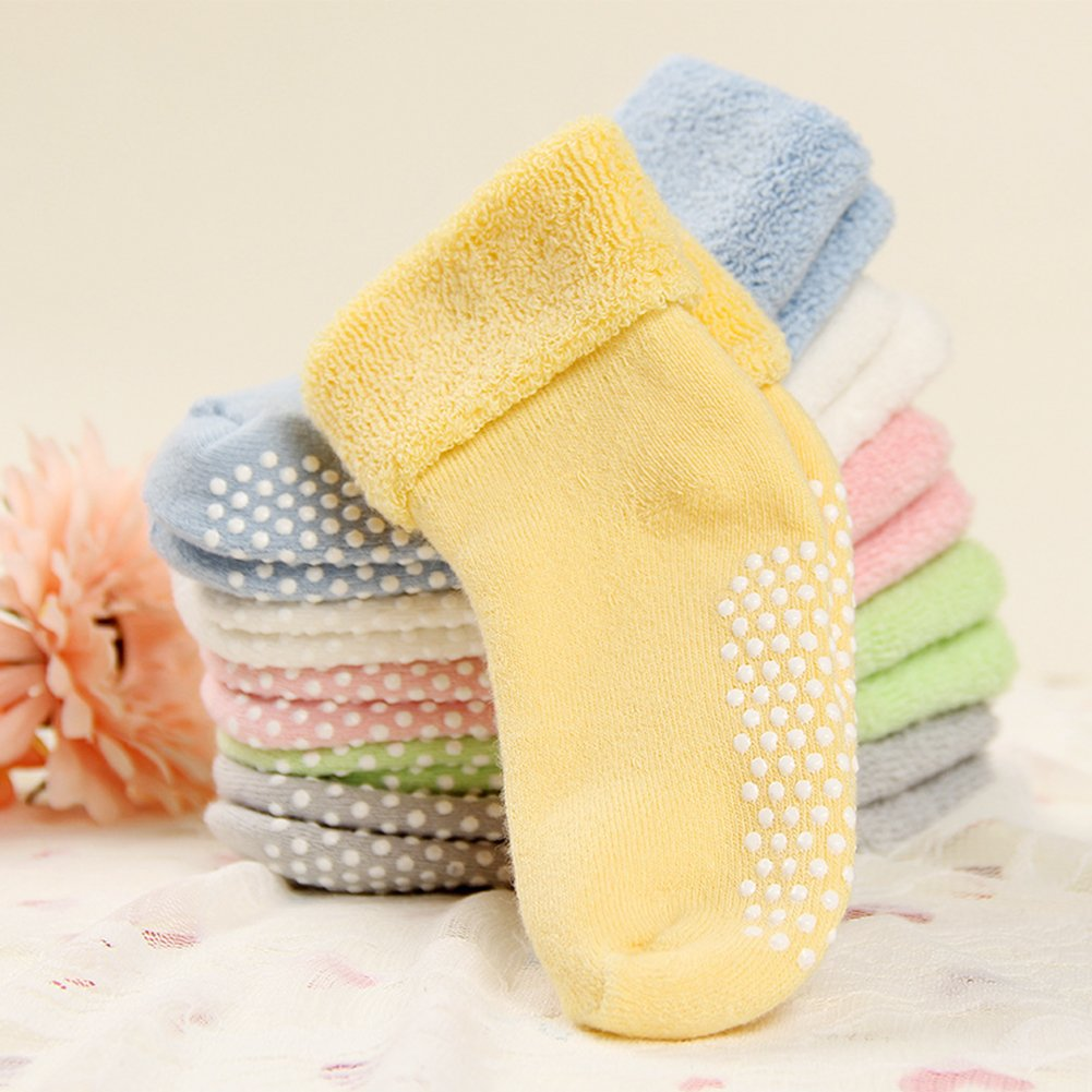 VWU Baby Socks with Grips Thick Cotton Socks for Toddler Infant Baby Girl Baby Boy 0-3 Years Old