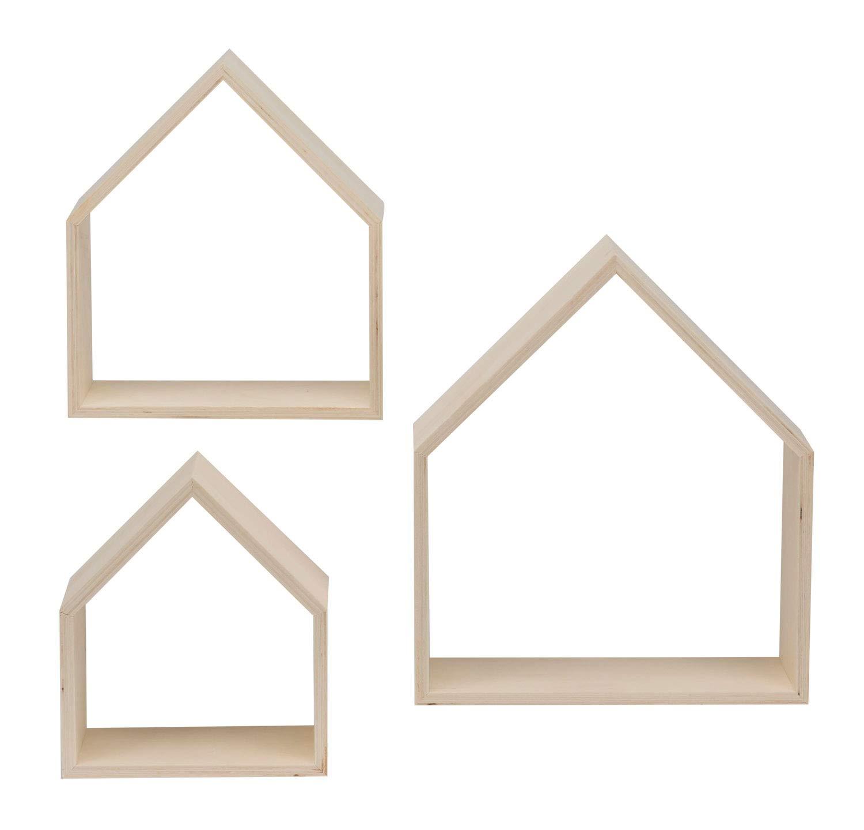 3 St/ück in 3 verschiedenen Gr/ö/ßen Design Rahmen aus Holz in H/äuser Form 26 x 30 x 10 cm Glorex 6 1320 305 25 x 25 x 10 cm und 17,5 x 20 x 10 cm ca
