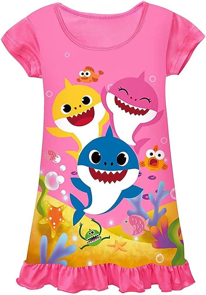 WNQY Toddler Girls Baby Princess Pajamas Shark Cartoon Print Nightgown Dress
