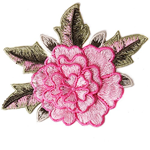 10pcs 3D Floral Embroidery Applique Sew On Patches Venise Motifs Applique Decoration Sewing for Craft Clothing T1813 (Pink) by Resources House
