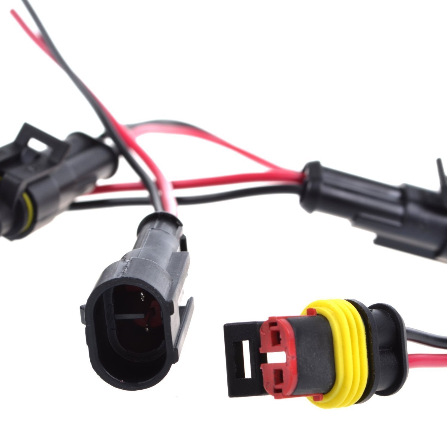 Beenlen 6 Set 2 Pin Way Car Waterproof Electrical Connector Plug with Wire AWG Marine