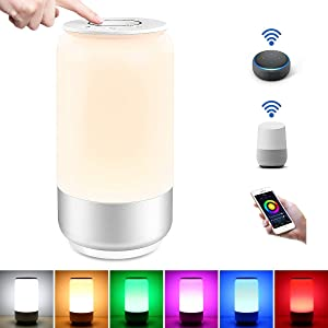 LE LampUX WiFi Smart Table Lamp Works with Alexa, Google Home, IFTTT, Tunable White & RGB Baby Night Light, Dimmable Bedroom Nightstand Lamp for Bedside Reading, Computer Work, Mood Lighting and More
