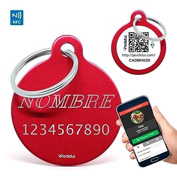 PERDIDUS Placa Identificativa para Mascotas con NFC y QR + Grabado del Nombre y Teléfono | Rojo, 32 mm, Unisex
