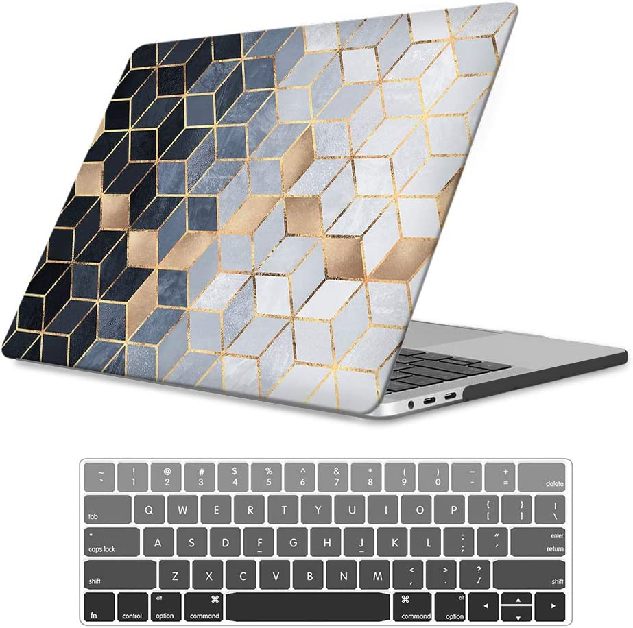 """iLeadon MacBook New Pro 13"""" Case 2016-2019 Release Model A2159/A1989/A1706/A1708 Rubberized Hard Shell Case Cover+Keyboard Cover for MacBook Pro 13 W/Without Touch Bar & Touch ID, Abstract Cubes"""