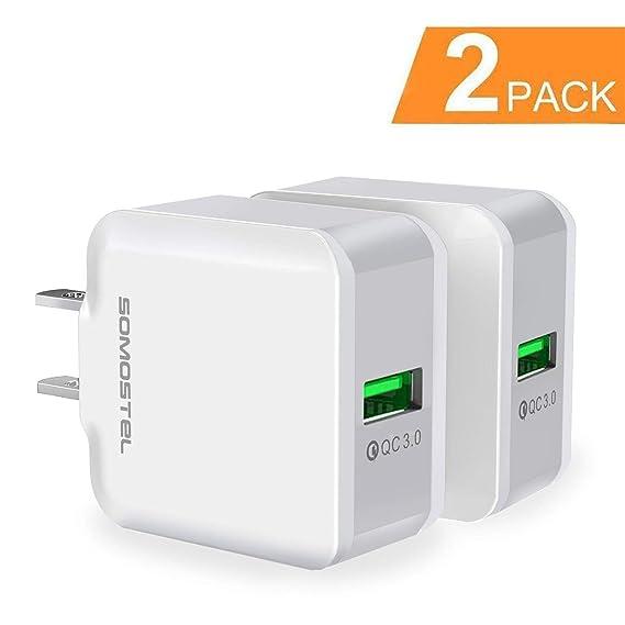 83ebd6337e4 SOMOSTEL - Cargador de pared rápido (2 unidades, 18 W, USB de viaje, carga  rápida, adaptador de alimentación 3.0 para iPhone X 8 7 6 Plus ...