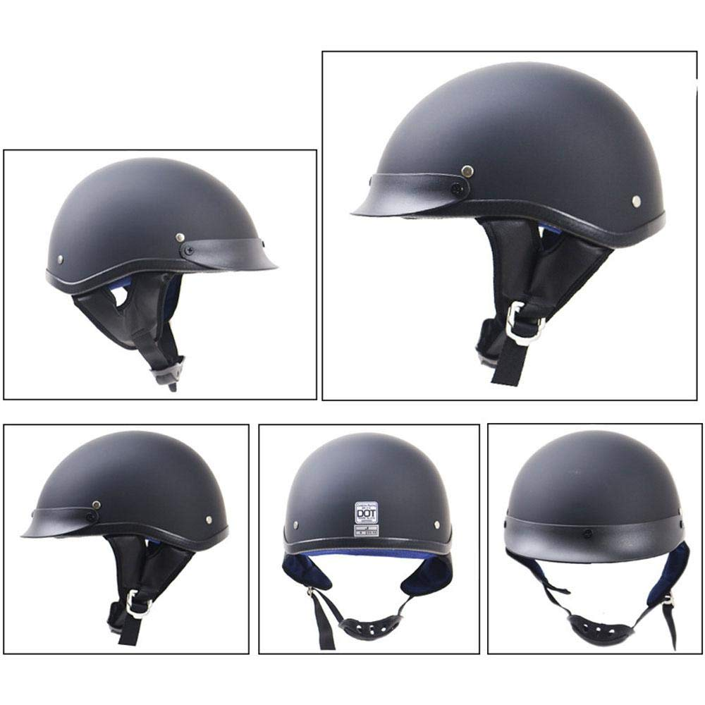 Motorcycle Half Face Helmet Cruiser Adjustable Size Cap for Bike Scooter Safety /& Comfort with Velvet Lining Half Face Helmet with Head Wrap Moped Chopper