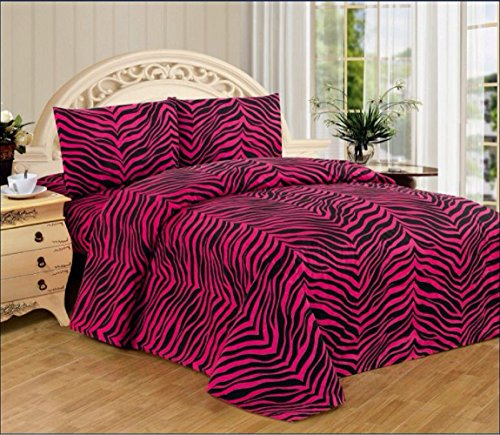 4 Piece Zebra Animal Jungle Print Super Soft Executive Collection 1500 Series Bed Sheet Set (King, Pink Zebra)