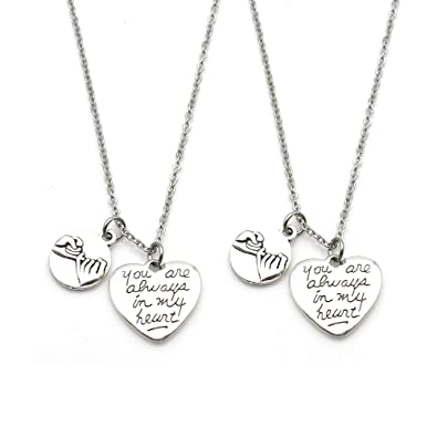 3d6ac6da97 Amazon.com: IDLAN 2 Pcs Pinky Promise Pinky Swear You are Always in My  Heart Necklace Sisters Necklace BFF Gift(Necklace): Jewelry