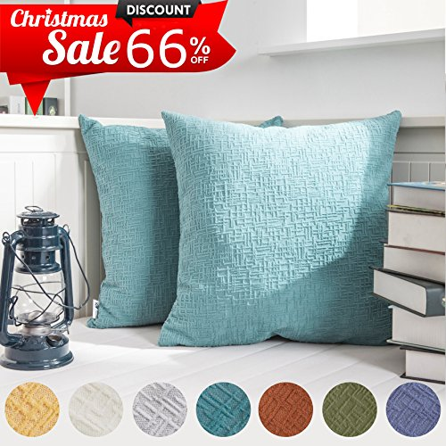 "Kevin Textile Solid Christmas Velvet Decoration Toss Throw Pillow Case Cushion Cover Comfortable Pillow Cover Soft Striped Decorative Pillowcase for Bed/Chair/Couch, 18""x18""(45cm),2 pcs,Niagara Blue"