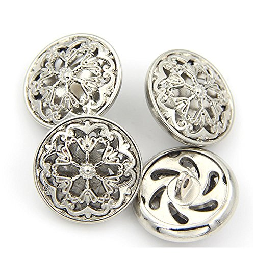 10PCS Clothes Button - Fashion Hollow Flower Metal Shank Round Shaped Metal Button Set Sewing Button (18mm, Silver) ()