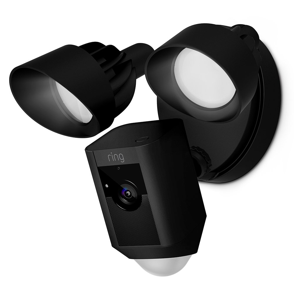 Ring Floodlight Camera Motion-Activated HD Security Cam Two-Way Talk and Siren Alarm, Black by Ring