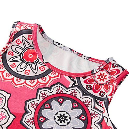 RAISEVERN Cute Girls Summer Bohemian Sunflower Dress Sleeveless Mandala Floral Printing Boho Swing Casual/Party (4-13Years) by RAISEVERN (Image #3)