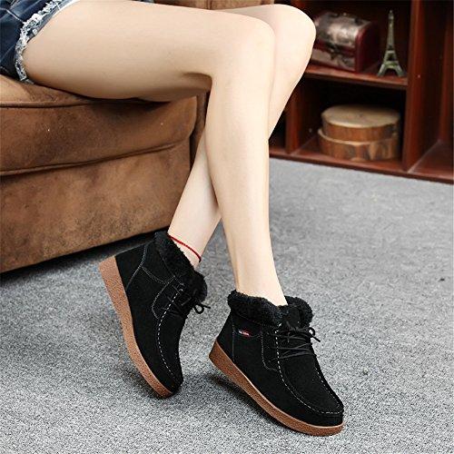 Sitaile Hiver Plates Cuir Femme Pour Lacets De Chaussures Bottines Antidérapage Bottes À Noir Plateforme Fourrées Chaude Neige Doublure Boots rgq6rtw