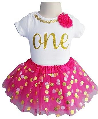 d4653418b Amazon.com  1st Birthday Outfit Baby Girl Tutu - Fuschia Gold Dot ...