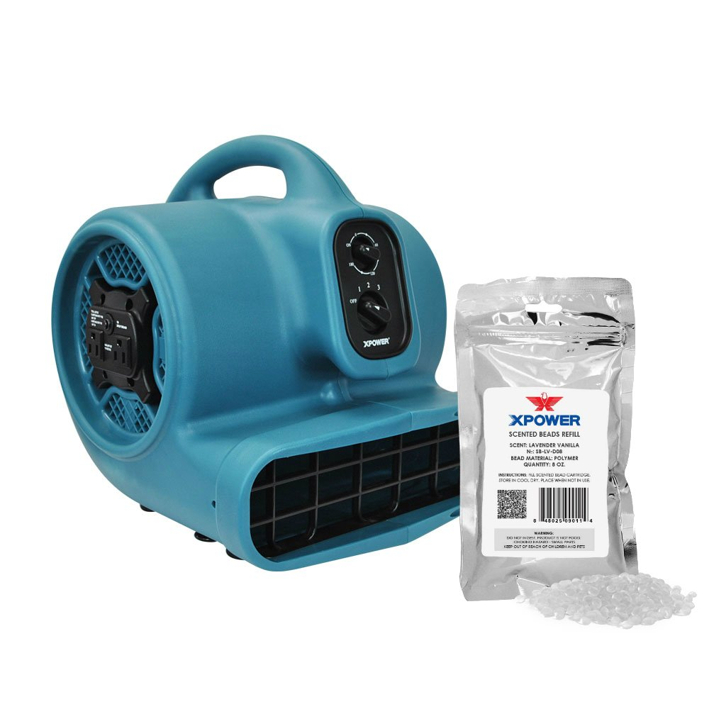 XPOWER P-450AT Freshen Aire 1/3 HP Scented Air Mover with Daisy Chain, Timer & Freshener Beads Refill (Lavender Vanilla, 8 oz)