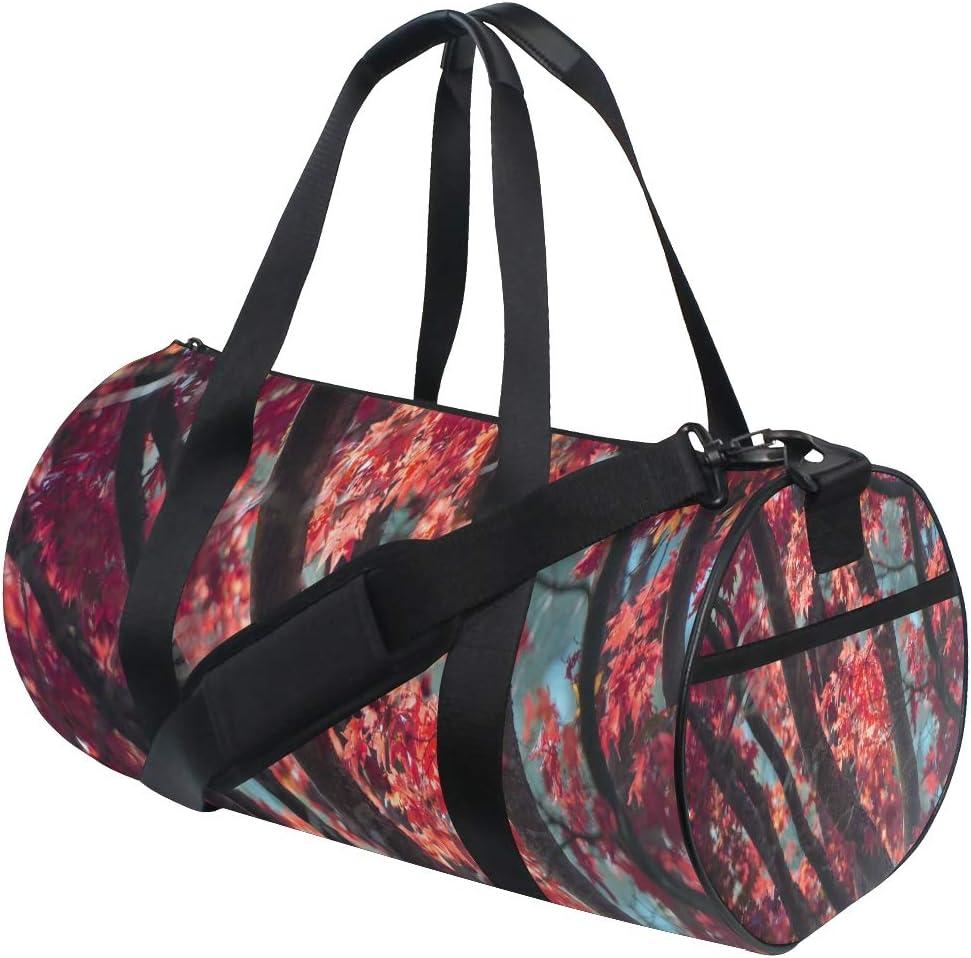 Gym Bag Red Maple Leaf Women Canvas Duffel Bag Cute Sports Bag for Girls